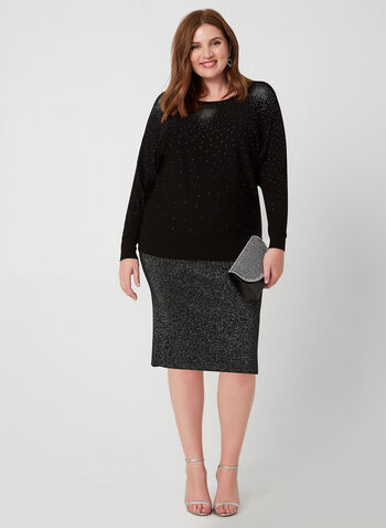 Metallic Knit Pencil Skirt, Black, hi-res,  skirt, pencil, metallic fiber, knit, fall 2019, winter 2019