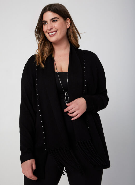 Open Front Fringe Cardigan, Black