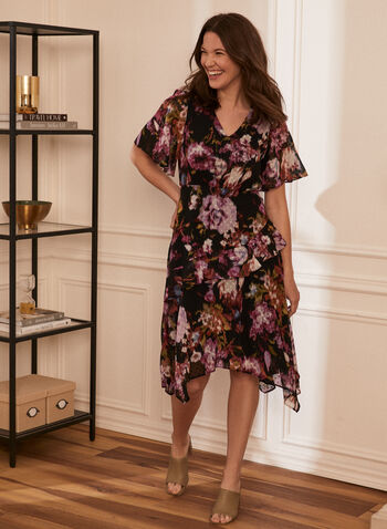 Floral Print Chiffon Dress, Black,  day dress, floral print, chiffon, ruffled, sharktooth, layered, short sleeves, spring summer 2020