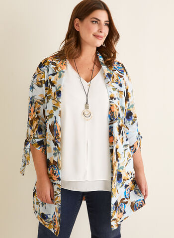 Floral Print Duster, Blue,  spring summer 2020, 3/4 sleeves, crepe fabric, floral print, made in canada