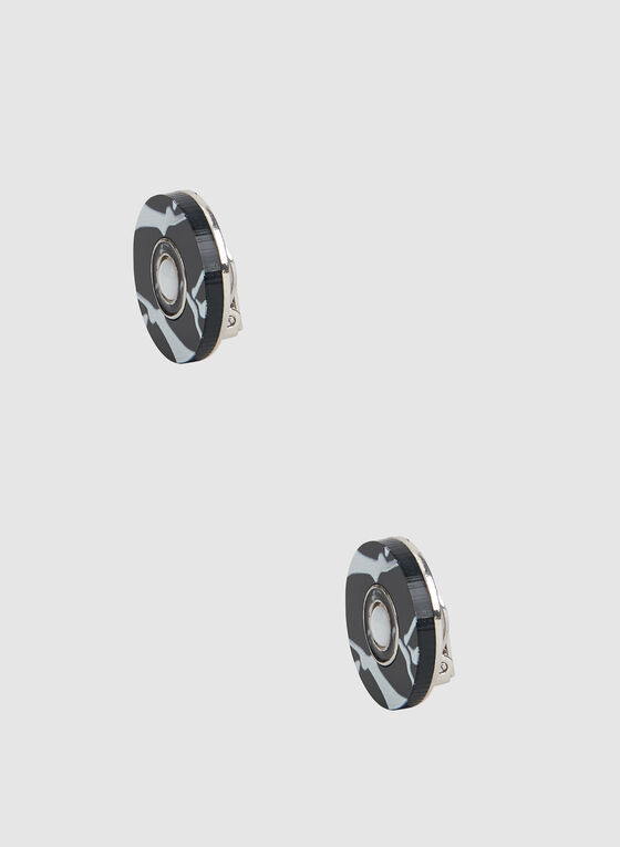 Marbleized Pearl Detail Earrings, Black