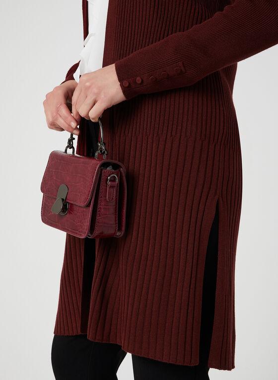 Cardigan long ouvert en tricot côtelé, Rouge