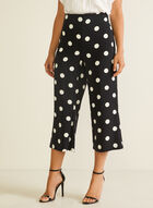 Polka Dot Print Gaucho Pants, Black