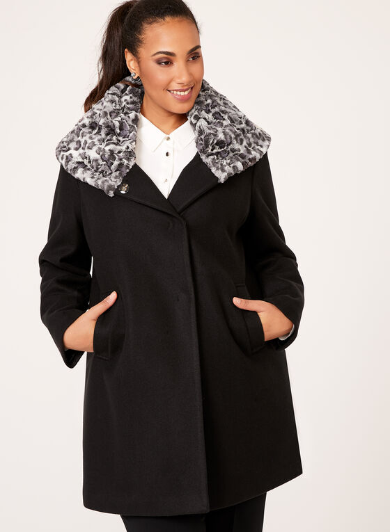 Novelti - Leopard Print Trimmed Wool Like Coat, Black, hi-res