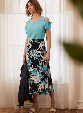 Tie Detail Cold Shoulder Top, Blue,  spring summer 2021, top, cold shoulder, tie sleeve, tie detail, shirt, short sleeve, split sleeve, round neck, shirt, tee