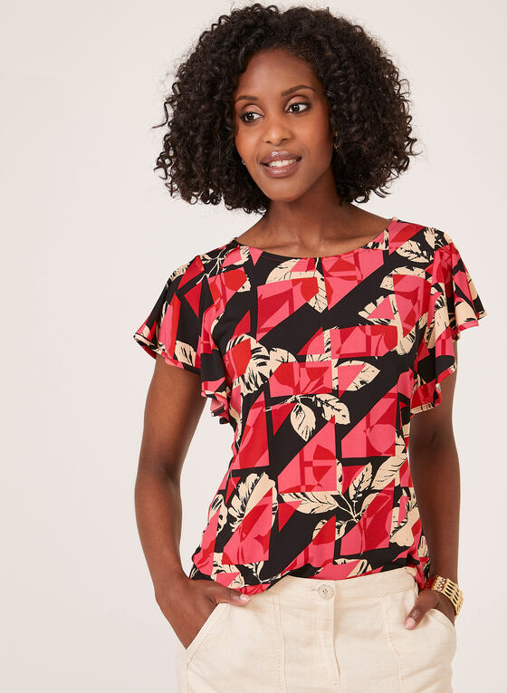 Floral Print Drop Shoulder Top, Black, hi-res