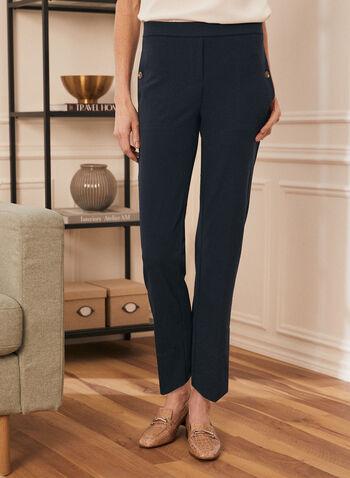 Pantalon à enfiler à jambe droite , Bleu,  pantalon, jambe étroite, à enfiler, détails de boutons,  crêpe, printemps été 2021