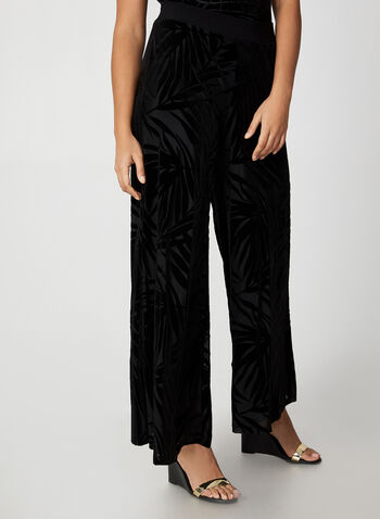 Wide Leg Velour Leaf Print Pants, Black,  canada, velour pants, modern fit pants, pants, pull-on, elastic pants, wide leg, velour, holiday, fall 2019, winter 2019