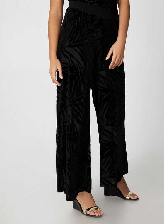 Wide Leg Velour Leaf Print Pants, Black, hi-res