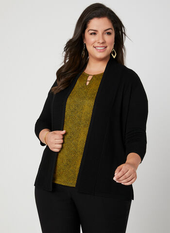 Textured Edge To Edge Cardigan, Black,  open-front sweater, viscose cardigan, rayon cardigan, knit cardigan