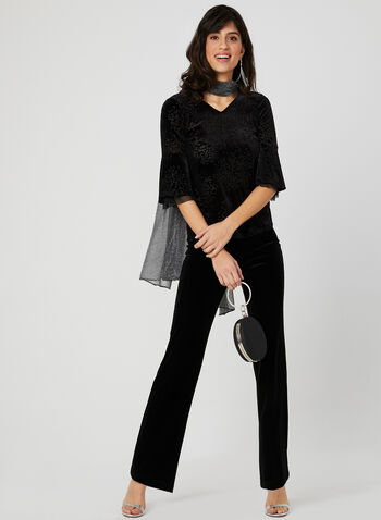 Velour Bell Sleeve Top, Black, hi-res