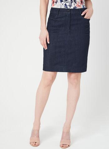 Mode de Vie - Jupe aspect denim, Bleu, hi-res,  jupe, denim, 4 poches, coton, printemps été 2019