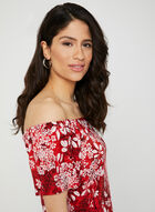 Floral Print Top, Red, hi-res