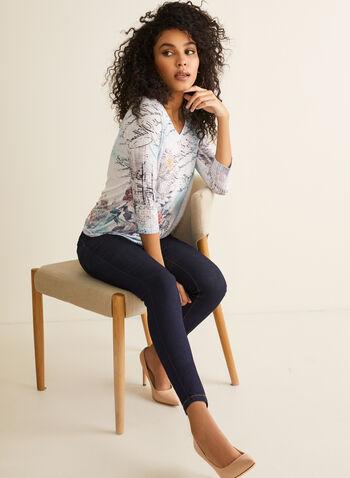 3/4 Sleeve Burnout Top, Blue,  spring summer 2020, 3/4 sleeves, floral print, crystal details