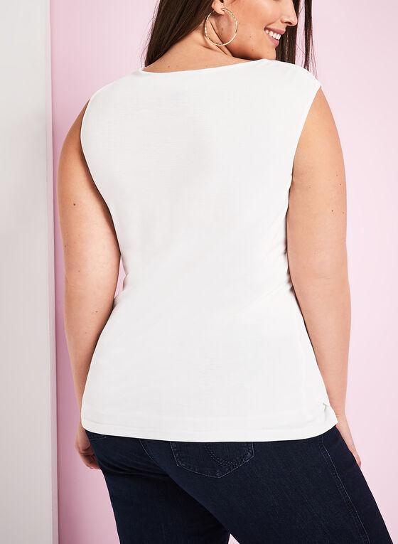 Sleeveless Drape Neck Top, Off White, hi-res