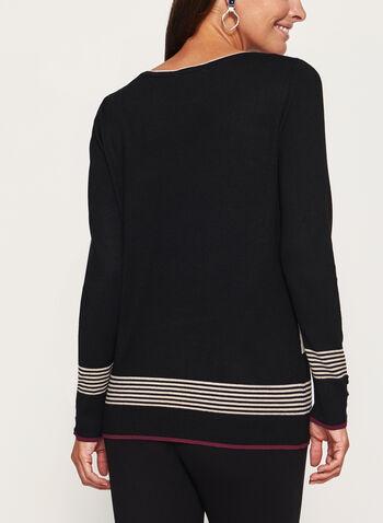 Stripe Print Boat Neck Top, Black, hi-res