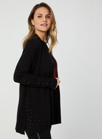 Open Front Knit Cardigan, Black, hi-res,  cardigan, knit, long sleeves, open front, fall 2019, winter 2019