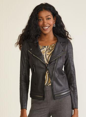 Vex - Blazer en faux cuir suédé, Noir,  blazer, faux cuir suédé, manches longues, col cranté, zip, automne hiver 2020