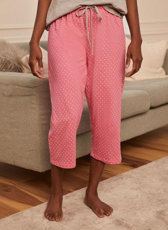 Ensemble pyjama haut et capri imprimés , Gris