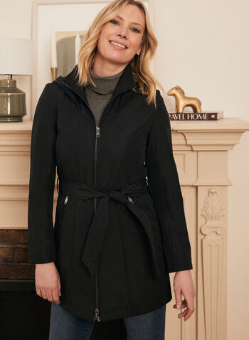 Novelti - Hooded Belt Coat, Black,  spring summer 2020, Novelti, hood, water-resistant