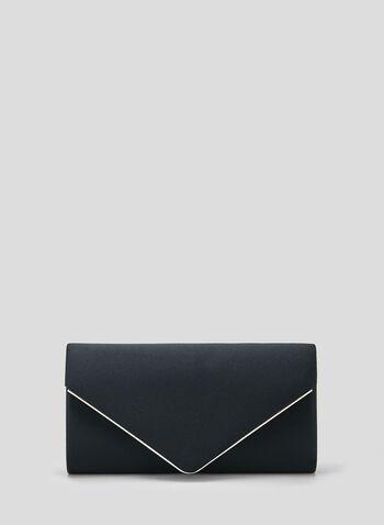 Satin Envelope Clutch, Blue, hi-res