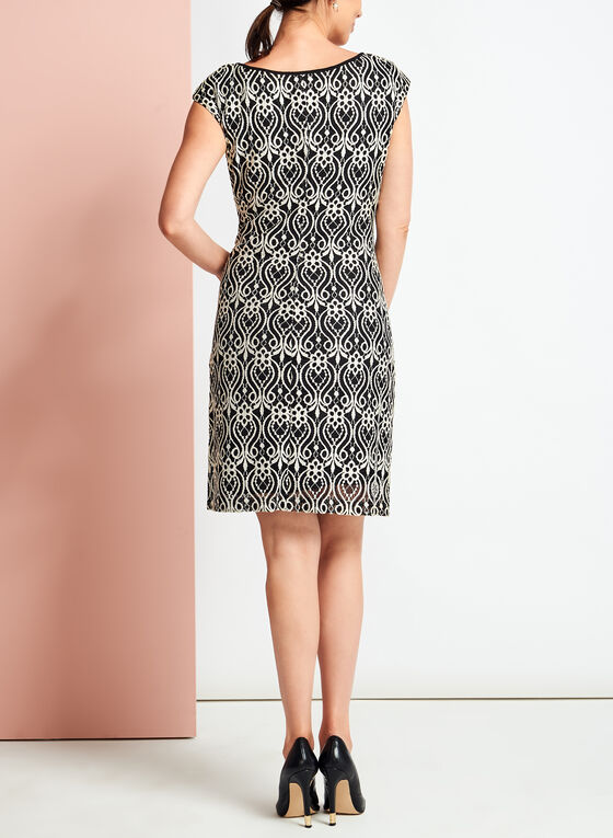 Contrast Lace Shift Dress, Black, hi-res