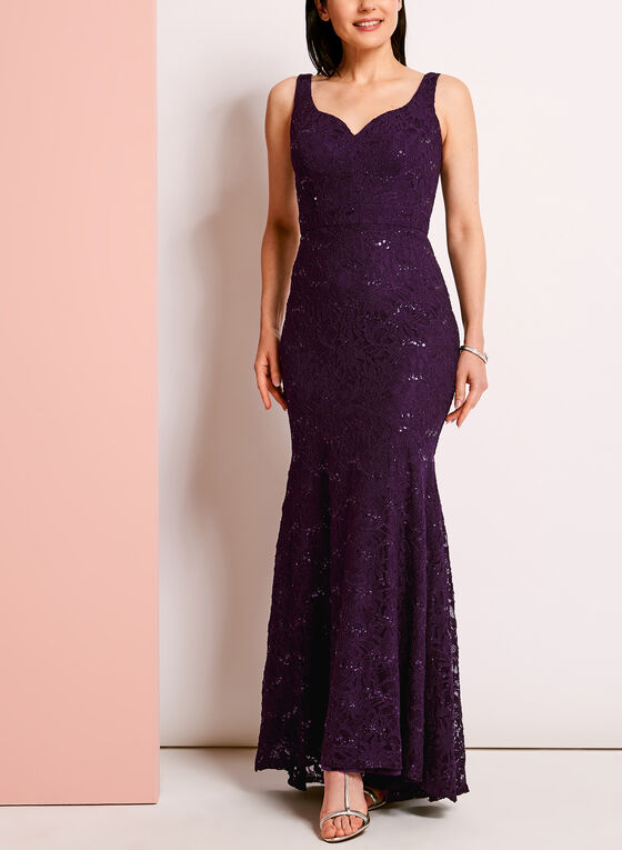 Sweetheart Neck Sequined Lace Gown, Purple, hi-res