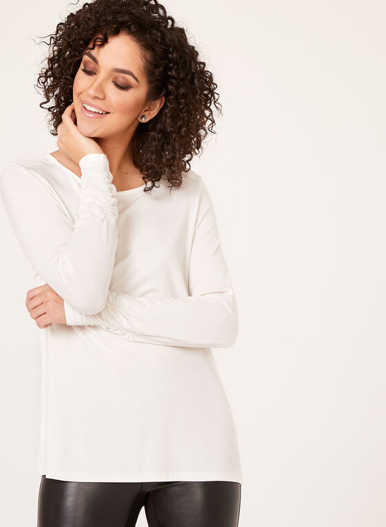 Ruched Cuff Long Sleeve Top, Off White, hi-res
