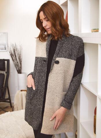 Cardigan long à blocs de couleurs, Noir,  automne hiver 2020, cardigan, veste, long, longue, blocs de couleurs, manches longues, col châle