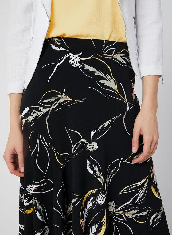 Jupe pull-on à motif feuilles, Noir