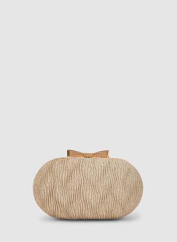 Pochette ovale à effet ondulé, Or, hi-res,  pochette, ovale, pailleté, ondulé, nœud, métal, automne hiver 2019