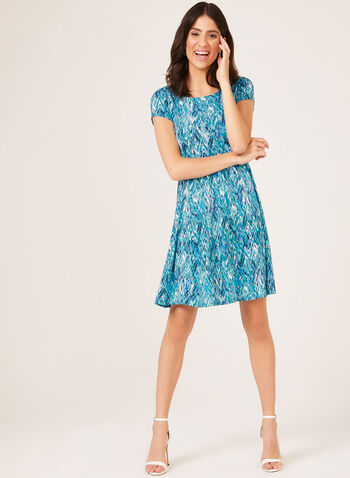 Abstract Print Trapeze Dress, Blue, hi-res