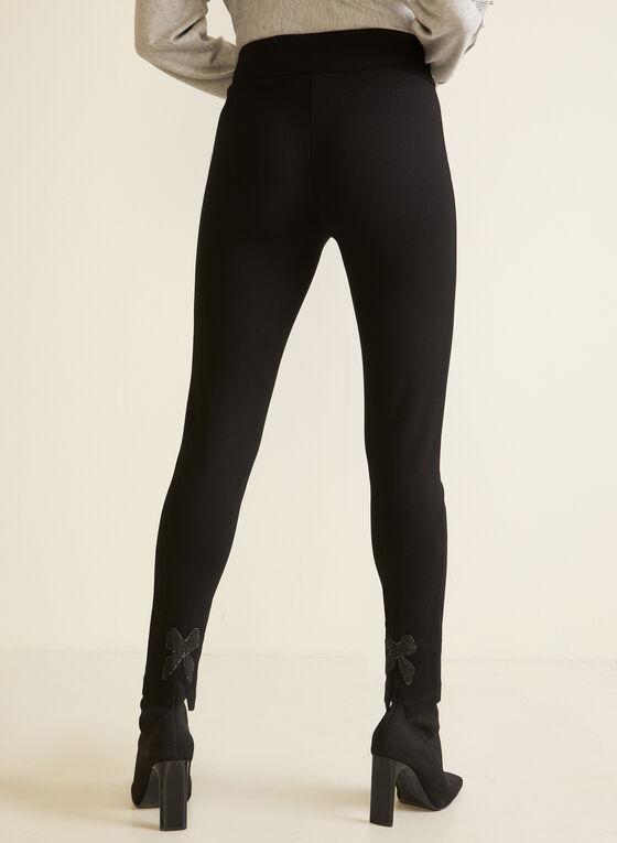 Bow Detail Slim Leg Pants, Black