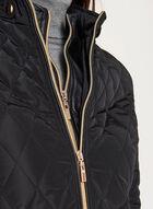 Diamond Quilted Double Zip Coat, Black, hi-res