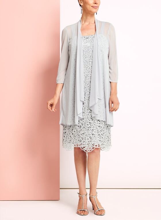 Textured Lace Dress with Cardigan, Silver, hi-res