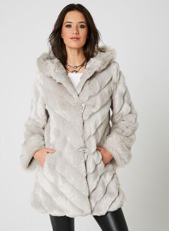 Nuage - Manteau en fausse fourrure à capuchon, Argent, hi-res