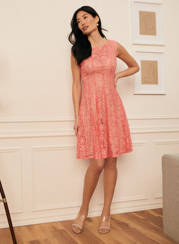 Floral Lace Fit & Flare Dress, Red,  dress, day, floral, lace, cap sleeve, fit flare, spring summer 2021