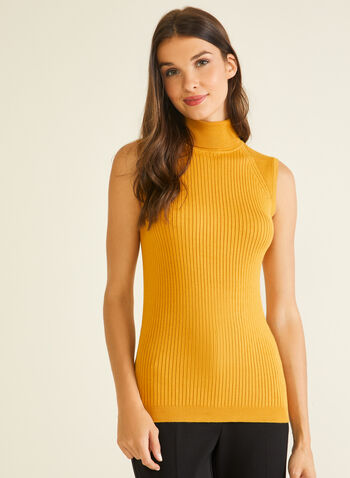 Sleeveless Turtleneck Sweater, Yellow,  sweater, sleeveless, turtleneck, ribbed knit