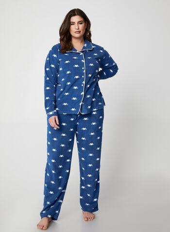 Karmilla Lingerie - Pyjama à motif chats, Bleu,  polar, polaire, manches longues, pyjama 2 pièces, ensemble pyjama, jambe large, automne hiver 2019