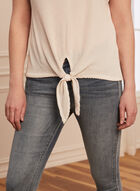 Knot Detail Textured Knit Top, Off White