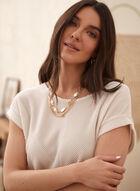 Haut en tricot et détail à nouer, Blanc cassé