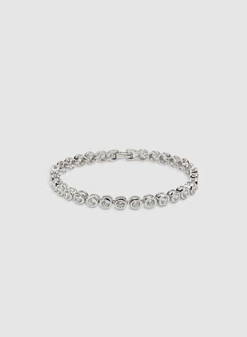 Crystal Tennis Bracelet, Silver, hi-res
