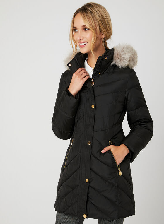 Anne Klein - Quilted Down Coat, Black, hi-res