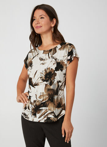 Floral Print Jersey Top, White, hi-res,  Canada, top, short sleeves, drop shoulder, floral print, jersey, fall 2019, winter 2019