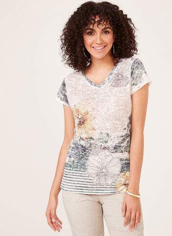 Vex - Floral Print Burnout T-Shirt, White, hi-res
