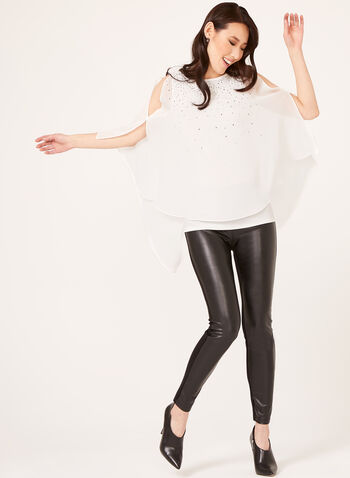 Crystal Embellished Chiffon Blouse, Off White, hi-res