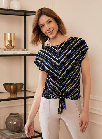 Stripe Print Tie Front Top, Black,  top, stripe print, cap sleeves, round neck, keyhole, tie front, made in Canada, spring summer 2021