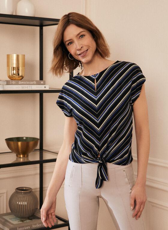 Stripe Print Tie Front Top, Black