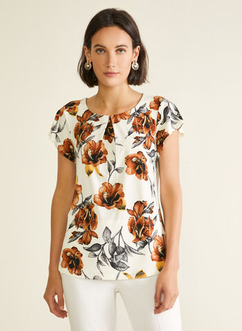 Floral Print Short Sleeve Top, White,  top, short sleeves, pleated, boat neck, floral print, jersey, spring summer 2020