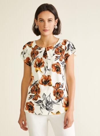 Haut fleuri à manches courtes, Blanc,  haut, manches courtes, plis, fleurs, jersey, printemps été 2020